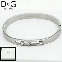"NEW DG Gift Inc Women's Stainless Steel Silver 6.5"" CZ Bangle Bracelet + Box"