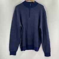 Toscano Mens Blue Long Sleeve Quarter Zip Pullover Sweater XL