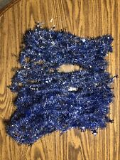 Vintage Blue and Silver Christmas Garland Tinsel Decoration 43+ Feet Total