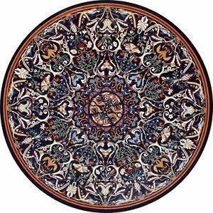 Black Marble Dining Table Top Precious Fine Pietra Dura Floral Inlay Decors B284