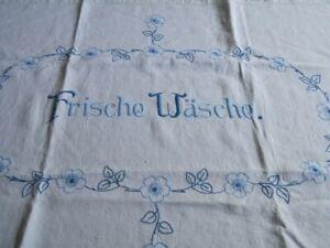 """Leinentuch Sticktuch """" Frische Wäsche"""" handgestickt Vintage"""