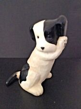 RARE VINTAGE MCF HEAVY CAST IRON BLACK & WHITE PUPPY DOG DOORSTOP / BOOKEND