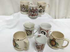 Job Lot Collection Of Commemorative Coronation Mugs Royal Family x 8