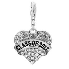 Class Of 2017 Heart Charm W/Rhinestones School Graduation Clip on Lobster Claw c