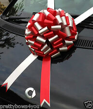 GIANT CAR Bow Extra Large Birthday Wedding Xmas Present RED+SILVER 30cm Bow
