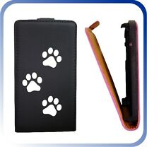 CUSTODIA COVER CASE NERA ECO PELLE ZAMPE PER iPHONE 4 4G 4S