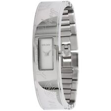 NWT DKNY Women's Watch All Silver Half SS Bangle Bracelet White Dial NY8290 $195