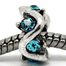 2PCs Turquoise Aquamarine Blue For European Charm Bracelets - March Birthstones