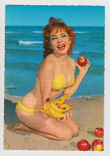 Postcard Risque Pinup Sexy Bikini Beach Girl Apple Banana Sea View- Vintage Card
