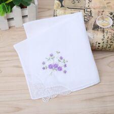 6Pcs Vintage Ladies Cotton Embroidered Lace Handkerchief Women Floral Hanky