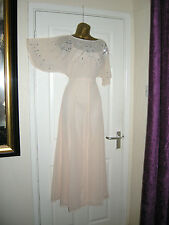 10 ASOS NUDE CHIFFON EMBELLISHED MAXI DRESS FLUTTER 20'S 30S VINTAGE GATSBY