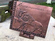 LEONE PERSIANO IN RAME INVECCHIATO storico ASSIRA Muro Appeso O Tavolo Art Placca