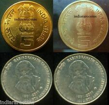 India Mule Lion Variety Tagore H Mint 5 Rs Unc Set NEW 2011 Rare