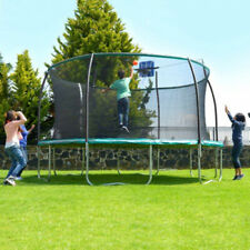 14 STEELFLEX TRAMPOLINE with Enclosure Net and Slama Jama Basketball System NEW