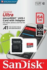 64 GB microSD de Sandisk Ultra SDXC A1 clase 10 100MB/s + Adaptador de vídeo Full HD