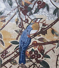 Tinny Blue Bird Garden Nature Wall Hanging Art Marble Mosaic An1064