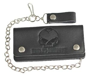 "Harley-Davidson® Men's Willie G Skull Black Leather 19"" Chain Wallet XML4710"