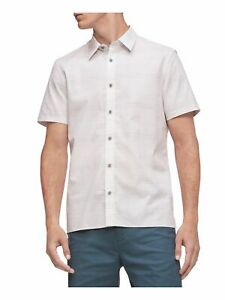 CALVIN KLEIN Mens White Patterned Short Sleeve Classic Button Down Shirt XS