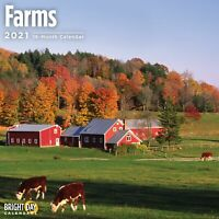 2021 Farms 12 x 12 Wall Calendar Country Side Barns Landscape Animals