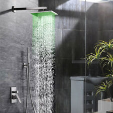 LED Rain Mixer Shower Faucet Combo Wall Mount Shower Head System Brushed Nickel