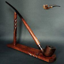 "WOODEN SMOKING PIPE + STAND Lotr Gandalf Hobbit CHURCHWARDEN LONG 14"" Brown MATT"