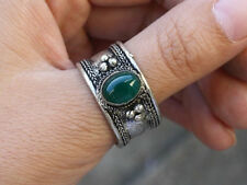 Large Adjustable Tibetan Big Oval Green Jade Gemstone Dotted Amulet Ring