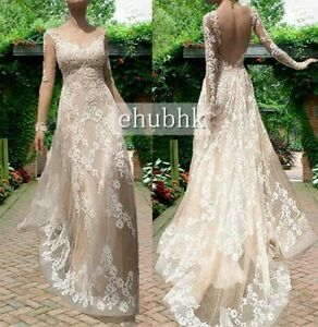 New Long sleeve Backless Lace Bridal Wedding Dress Gown Ball Prom Custom Size