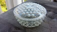 Vintage Opalescent Hobnail Round Trinket Box, Lidded
