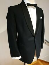 Vintage 1960s Textured Shawl Lapel Tuxedo Jacket size 40 SHORT. Pure Wool