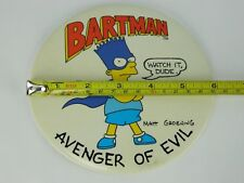 "Vtg Simpsons Bartman Avenger of Evil 6"" Great Big Button Pin Easel Back Display"