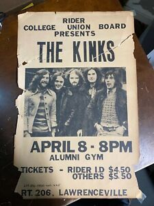 Kinks  POSTER -April 8, 1973 -Rider College Lawrenceville NJ  Poor Condition
