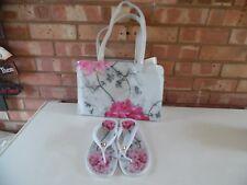 Ted Baker Lark Babylon Flip Flops & Floral Icon Set Bag New Size Large UK 8 New