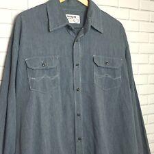 Wrangler Jeans Men's Dress Shirt Size 2XL Button Down Long Sleeve Blue Pinstripe