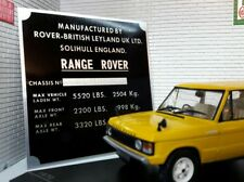 Land Range Rover Classic 2 Door Alloy Chassis Plate Number Plaque Engine Bay
