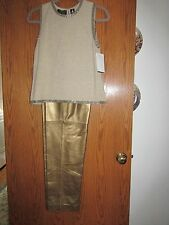 Dana Buchman Gold Lamb Leather Pants and gold beaded sleeveless knit top