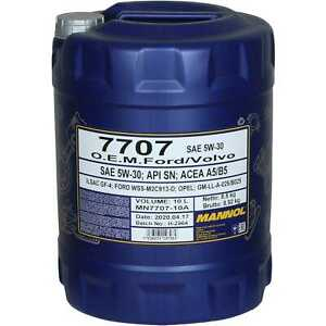 10 Litre Original Mannol huile moteur 7707 O. E. M.5W-30 Api Sn / Cf Oil