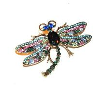 Brooch/Pendant/Pin Pink Green Blue Turquoise Lime Colorful Dragonfly