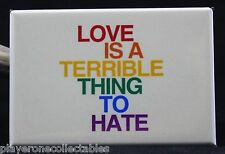 """Love is a Terrible Thing to Hate"" 2"" X 3"" Fridge Magnet. LGBT Pride"