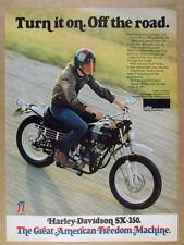 1973 Harley-Davidson SX-350 SX350 Motorcycle color photo vintage print Ad