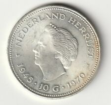 10 Gulden Niederlande Silber - Juliana 25. Jahrestag der Befreiung 1970    (177)
