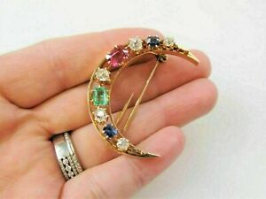 HALLOWEEN SPECIAL 3Ct Sapphire,Emerald& Diamond Brooch Pin 14k Yellow Gold Over