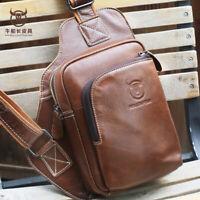 Travel Men's Genuine Leather Chest Bags Sling Shoulder Bag Cross-body Waist Pack
