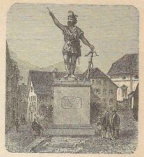 A4535 Altorf - Monumento di Guglielmo Tell - Incisione - Stampa Antica del 1887