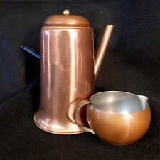 """Vintage Copper Turkish Coffee Pot with Lid and Wooden Handle 6"""" H plus Cup"""