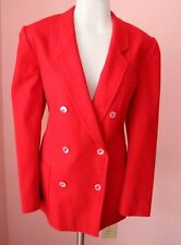 ESCADA 40 10 Large Luxury Red Wool Womens Designer 80's Vintage Blazer Jacket