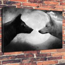"Black & White Moon Light Lobos caja impresa cuadro lienzo A130""x20"" 30 mm profundo"