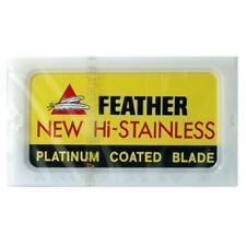 Feather Hi-Stainless Platinum Coated Double Edge Safety Razor Blades 10 Pack