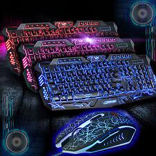 M200 Cracked Illuminated USB Wired Gaming Keyboard and 2400DPI Mouse Bundles Set