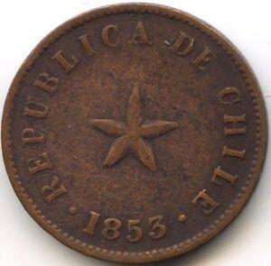 Chile Republic Medio Centavo 1853 Km 126