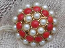 60'S RED & FAUX PEARL DOMED BROOCH - 3/1 OLD MONEY PRICE TAG- NEW OLD STOCK